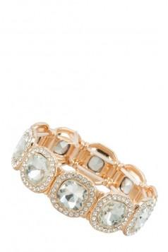 Rectangular Crystals Linked Stretchable Bracelet