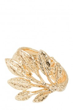 Hammered Leaf Hinge Cuff Bracelet