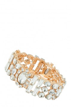 Multiple Glass Crystals Linked Stretchable Bracelet