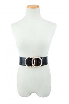 Double Ring Rhinestone and Pearl Buckle Elastic Belt