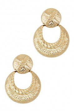 Textured Round Metal Linked Stud Earring