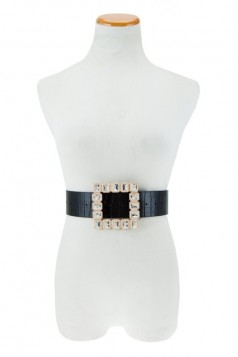 Square Buckle with Large Square Stone Crocodile Texture Belt