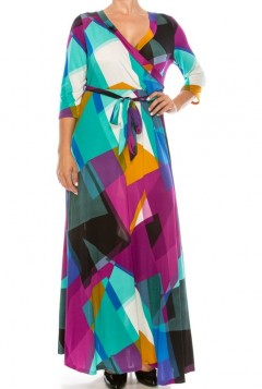 ABSTRACT PLUS SIZE MAXI DRESS