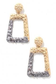 Paint Dip Metallic Geo Drop Earrings