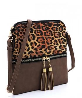 Leopard Colorblock Tassel Zip Crossbody Bag