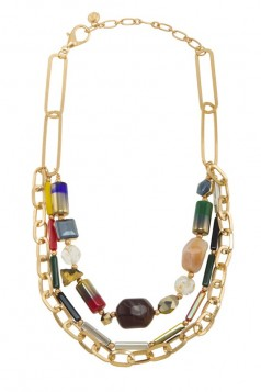 Multiple Beads and Glass Linked Chain Layered Necklace
