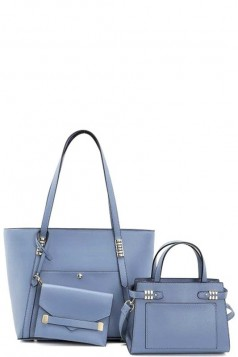 3IN1 SMOOTH PLAIN TOTE BAG WITH BAG AND CLUTCH SET