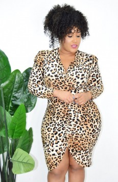 LEOPARD RUCHED BODYCON DRESS