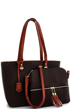 2in1 Modern Check Fashion Tote And Crossbody Set Coffee