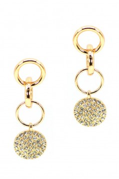 METAL RING LINK DANGLE ROUND STUDDED STONE EARRING