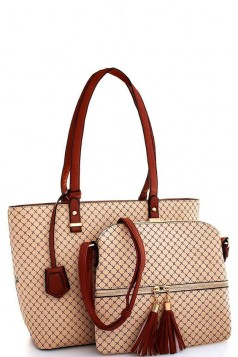 2in1 Modern Check Fashion Tote And Crossbody Set Taupe