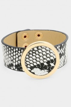 Round Buckle Snake Leather Bracelet
