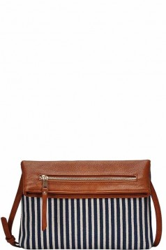 STRIPED FOLDOVER CLUTCH