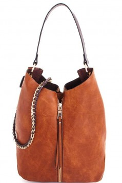 2in1 Fashion Expandable Tote with Long Strap BROWN