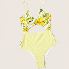 Plus Size Floral and Stripe Swimsuit