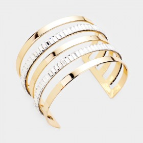 BAGUETTE CUT STATEMENT SPLIT LAYER CUFF BRACELET