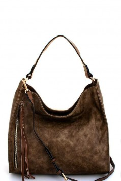 2in1 Modern Trendy Fashion Hobo with Long Strap STONE