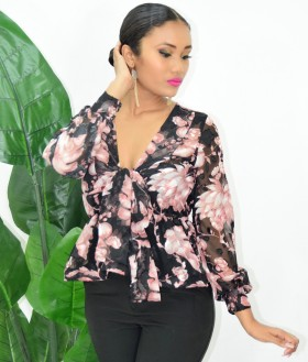 FLORAL SHEER BOW BLOUSE