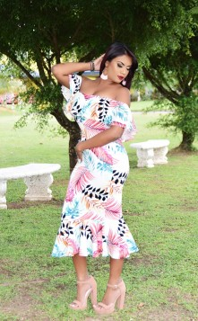 TROPICAL GETAWAY OFF SHOULDER DRESS