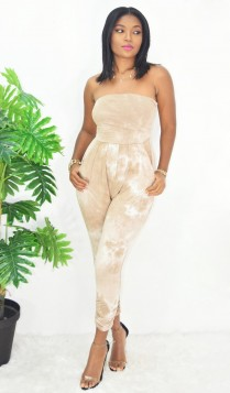 LAZY DAY RUCHED TIE DYE JUMPSUIT