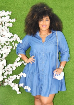PLUS SIZE DENIM LAYERED DRESS