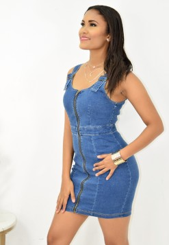 BUCKLE DENIM DRESS