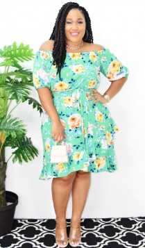 EYE CATCHER OFF SHOULDER FLORAL DRESS