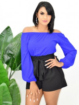 COLOR BLOCK OFF SHOULDER ROMPER
