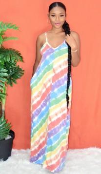 RAINBOW TIE DYE MAXI DRESS
