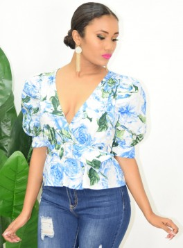 BELTED FAUX WRAP TOP