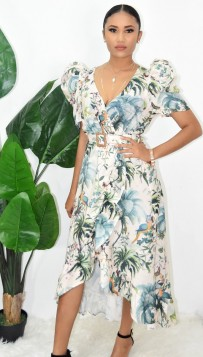 FLORAL SURPLICE WRAP DRESS