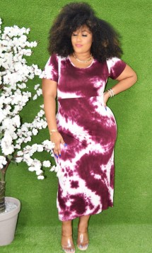 TIE DYE BODYCON MIDI DRESS