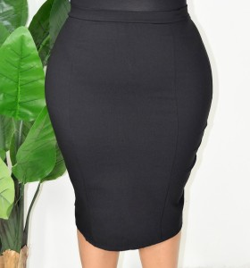 PLUS SIZE ZIPPER SKIRT