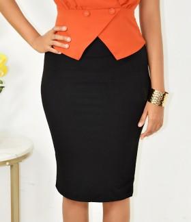 black silky skirt
