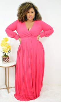 Beautiful Love Pleated Maxi Dress w/belt +