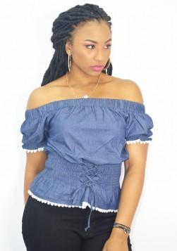 Crochet Lace Up Denim Off Shoulder Top