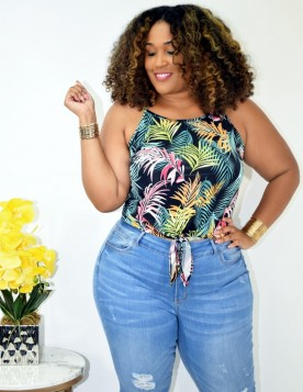 Tropical Print Tie Front Tank +- More Colors