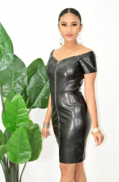 FAUX LEATHER ZIP FRONT MIDI DRESS
