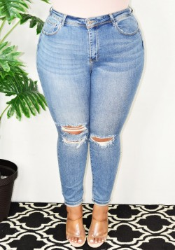 DISTRESS HIGH WAIST DENIM JEANS