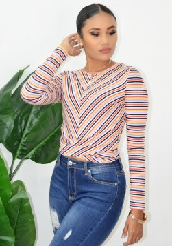 STRIPED TWIST FRONT TEE