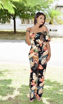 TROPICAL LUAU OFF SHOULDER JUMPSUIT