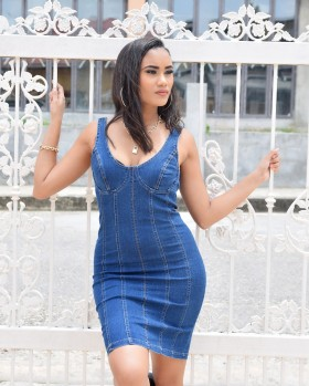 ZIPPER DENIM DRESS