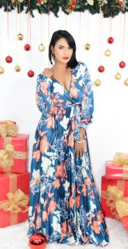 PLEATED FLORAL MAXI DRESS
