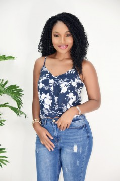 FLORAL KNOTTED CAMI TOP