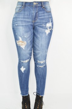 Pearl Accent Distressed Jeans