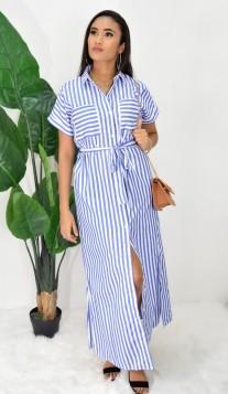 SLIT STRIPED SHIRT DRESS