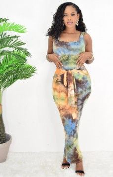 ALL ABOUT TIE DYE TIE FRONT MAXI DRESS