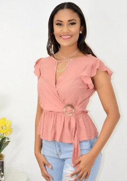 MISSING YOU RUFFLE SLEEVE BLOUSE W BUCKLE