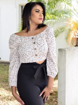 DOTTED PRINT CROP TOP