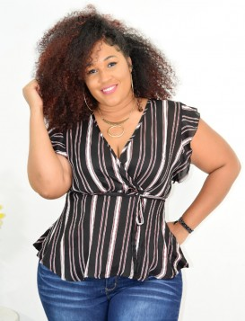 PLUS SIZE STRIPED SHEER TOP